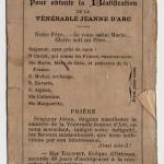 Joan of Arc prayer card (verso)