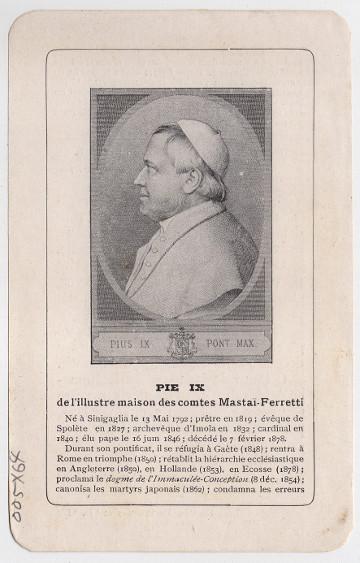 Pope Pius IX prayer card