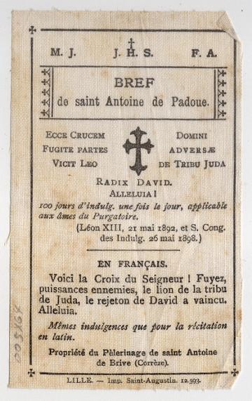 Cloth prayer card