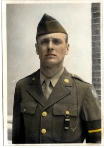 Novia James White outdoors in military dress uniform, ca. 1943. [Novia James White Photograph Collection, 013PC53.29]