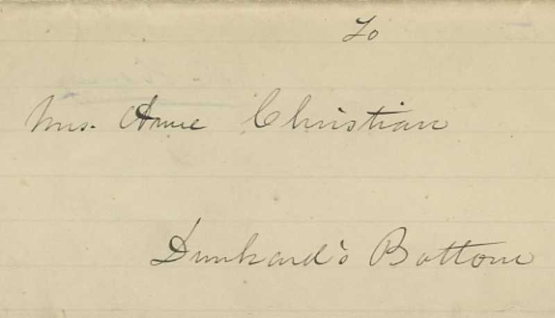 Address of letter from Patrick Henry to Anne Christian (November 13, 1782). FOLDER 393, BULLITT FAMILY PAPERS – OXMOOR COLLECTION, 1683-2003.