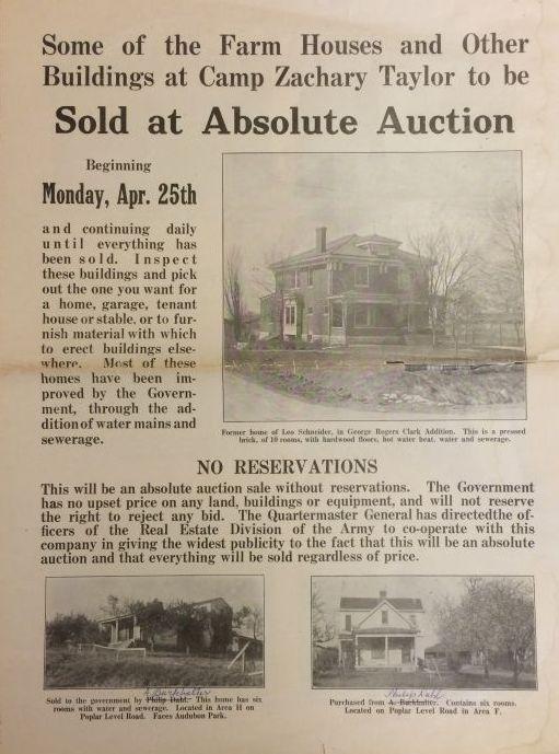 Auction brochure, Camp Zachary Taylor Records, The Filson Historical Society