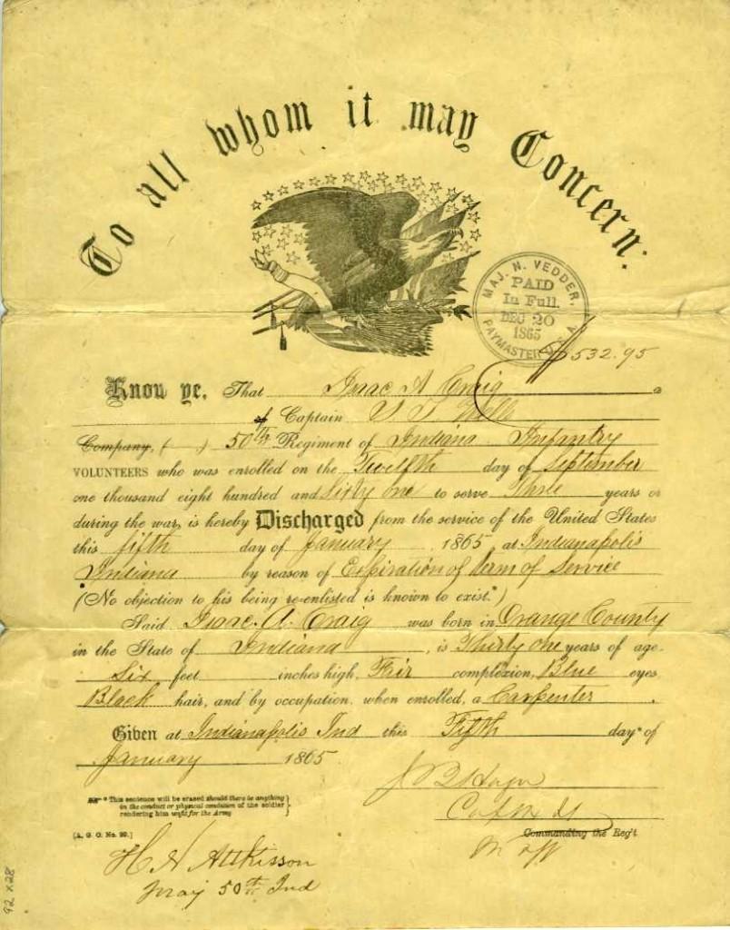 Captain Isaac Allen Craig discharge paper, 5 January 1865.