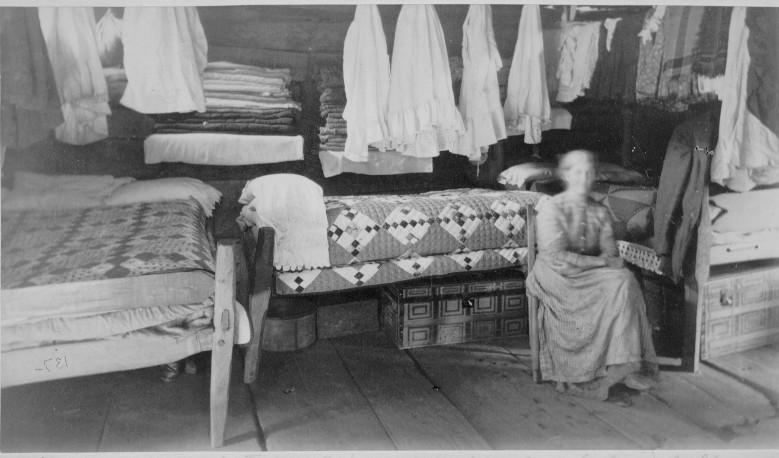 RCBT-MT-025 Interior of Robert Wilson's log cabin, Rogers Clark Ballard Thruston Mountain Collection